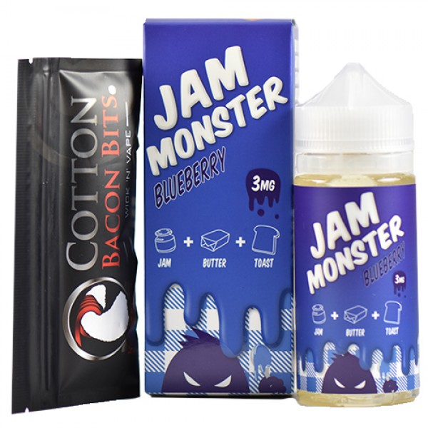 Jam Monster eJuice Blueberry 100mL+ COTTON BACON BITS